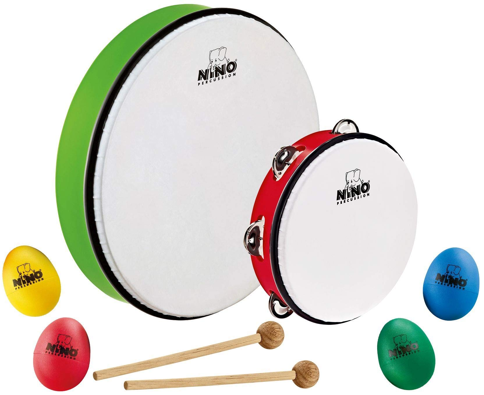 Nino Percussion Rhythm Set with 3 Pieces, Includes Egg Shakers, Tambourine and Hand Drum - NOT MADE IN CHINA - Perfect for Classroom Music, 2-YEAR WARRANTY, NP-4) by Nino Percussion