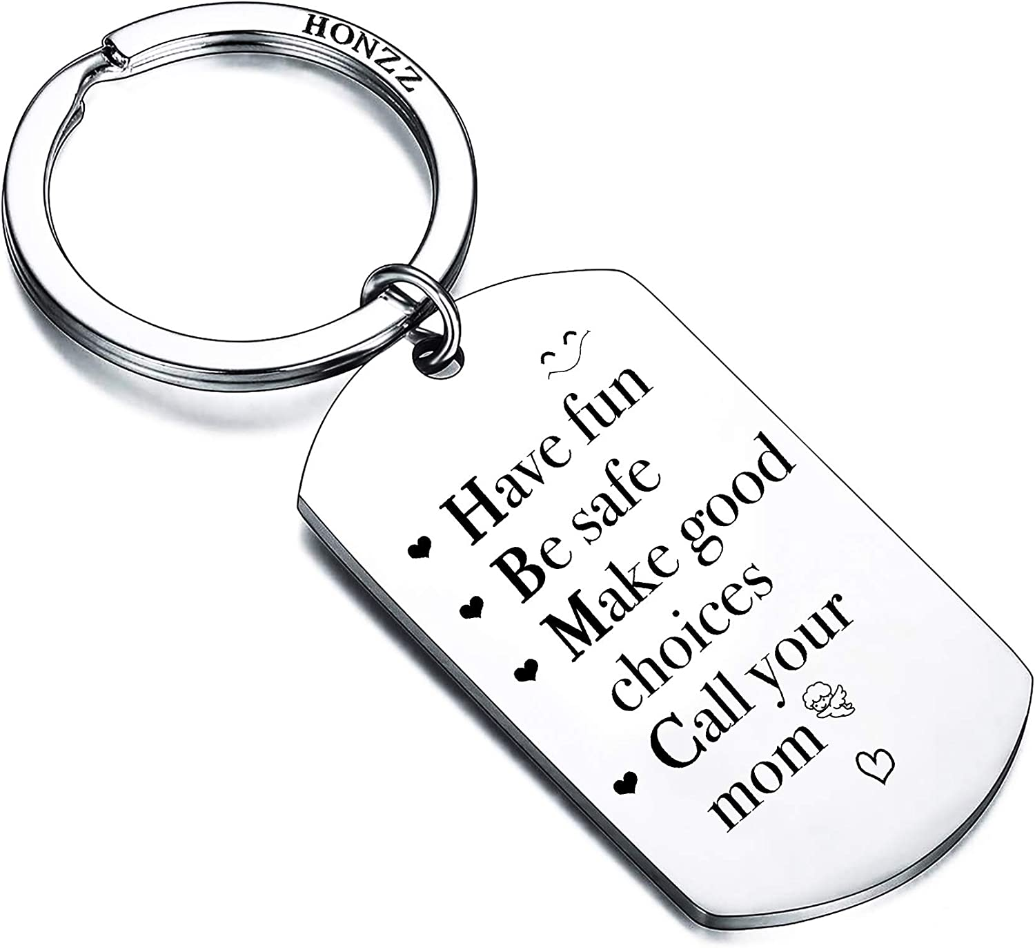 HONZEE Graduation Birthday Gifts for 16 18 Year Old Boys Girls - Have Fun, Be Safe, Make Good Choices and Call Your Mom Gifts for Son Daughter Keychain College Dorm Room Accessories Sign