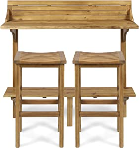 Christopher Knight Home 304146 Cassie Outdoor 3 Piece Natural Finish Acacia Wood Balcony Bar Set, Stained