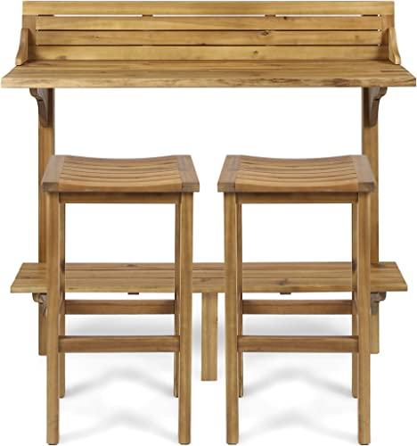 Christopher Knight Home 304146 Cassie Outdoor 3 Piece Finish Acacia Wood Balcony Bar Set