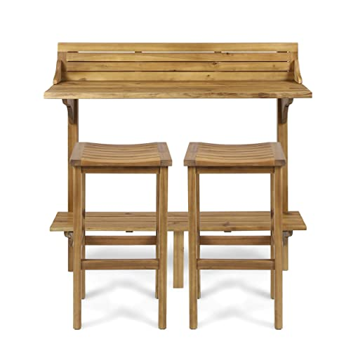 Christopher Knight Home 304146 Cassie Outdoor 3 Piece Finish Acacia Wood Balcony Bar Set, Natural Stained