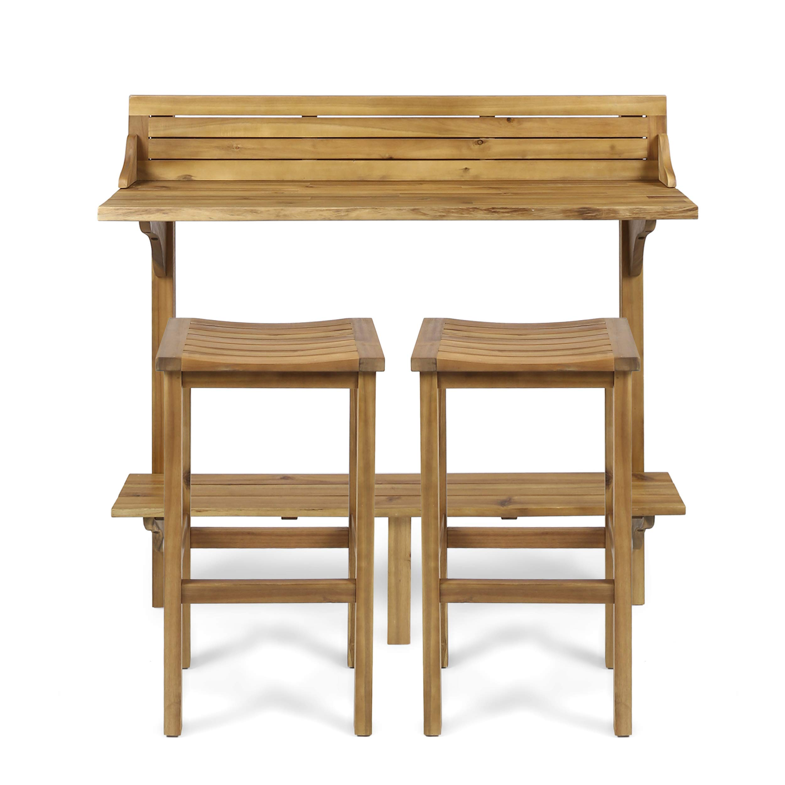 Great Deal Furniture 304146 Cassie Outdoor 3 Piece Natural Finish Acacia Wood Balcony Bar Set, Stained