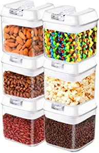 Frebw Airtight Food Storage Containers, 6 BPA Free Plastic Cereal Containers with Easy Lock Lids, for Kitchen Pantry Organization and Storage (Upgraded A)