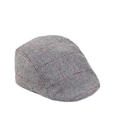 Mens Marc Darcy Grey Tweed Herringbone Flat Cap available in S M or ... c976ba45968