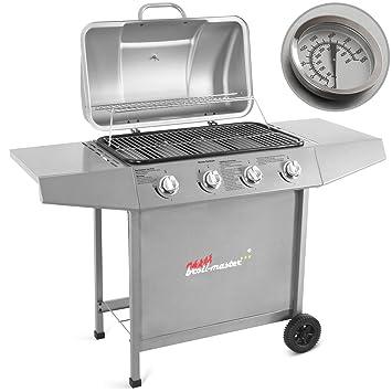 Broil-master – Barbacoa a gas con 2 prácticas rejillas y 4 fogones – color