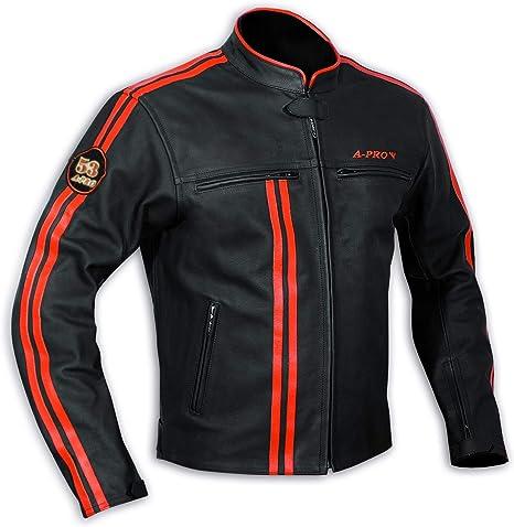 A-Pro -Guanti da motocilista di alta qualit/à taglia: L colore Bianco//Rosso in pelle