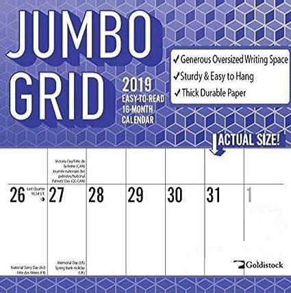 Amazon Com Goldistock Jumbo Large Print Eco Friendly 2019 Large