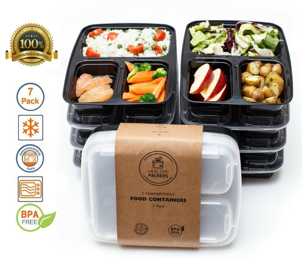 healthy packers 3 compartment reusable food prep containers with lids bento l chickadee. Black Bedroom Furniture Sets. Home Design Ideas