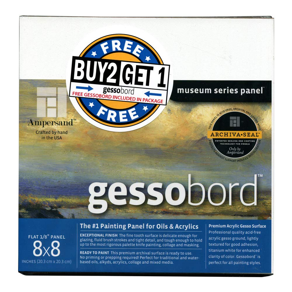 Ampersand Gessobord for Acrylic, Oil and Mixed Media, 1/8 Inch Depth, 8X8 Inch, Buy 2 Get 1 Free Bundle for a total of 3 panels (GBS088B2) AMPERSAND ART SUPPLY