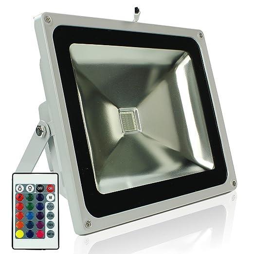 RPGT 50W RGB LED Foco Proyector Luz, 16 Colores con Mando a ...