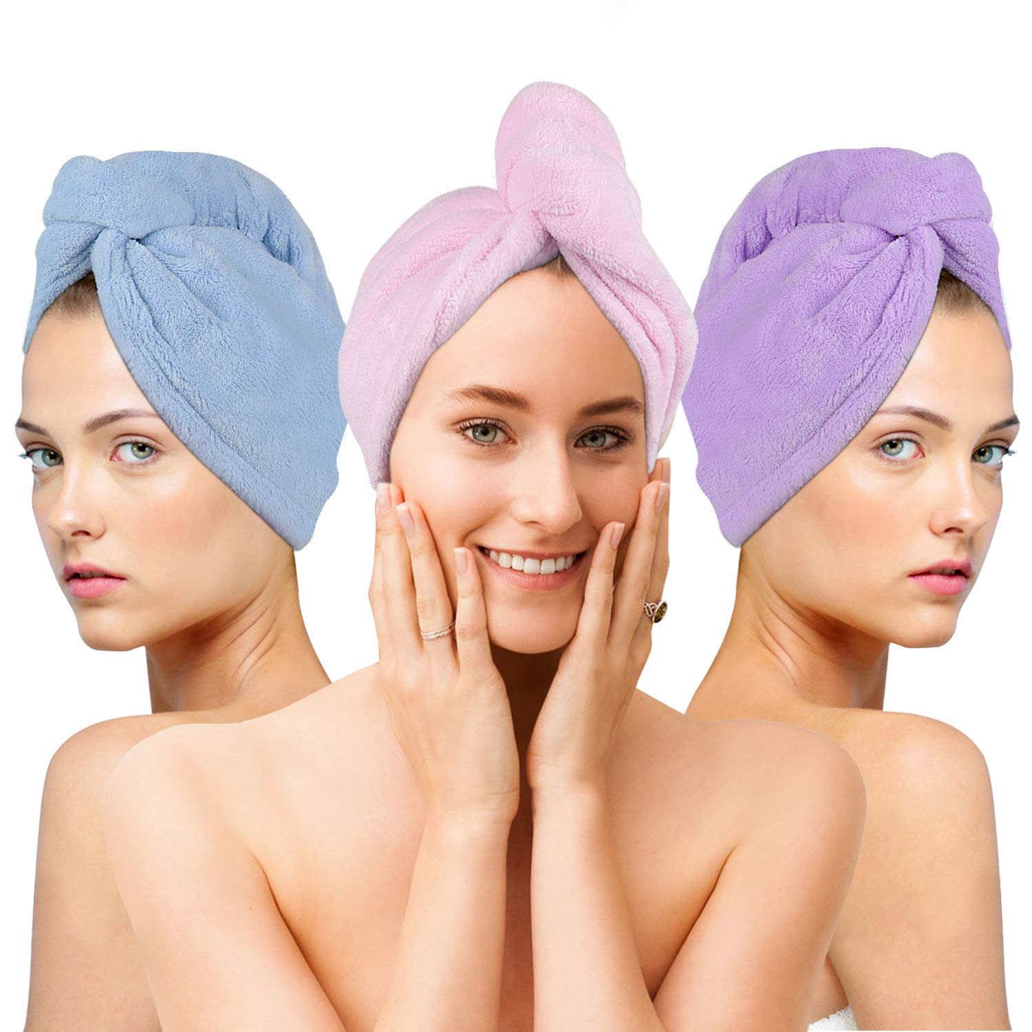 Hair Towels Wrap 3 Packs Microfiber Hair Drying Towels Super Absorbent Hair Towel Wrap Turban for Women and Girls Quick Magic Dryer, Dry Hair Hat,Bathing Wrapped Cap by KKIV