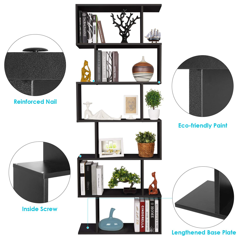 Homfa Estantería librería 6 Estantes Estantería Pared Estantería Libros de diseño 70x23.5x190cm (Negro): Amazon.es: Hogar
