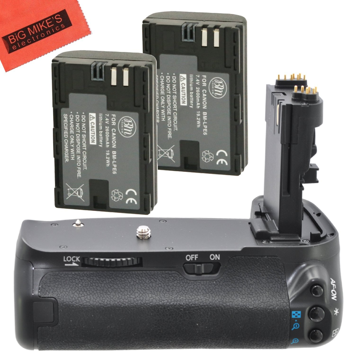 Battery Grip Kit for Canon EOS 70D EOS 80D Digital SLR Camera Includes Qty 2 BM Prmeium LP-E6 Batteries + BG-E14 Replacement Battery Grip