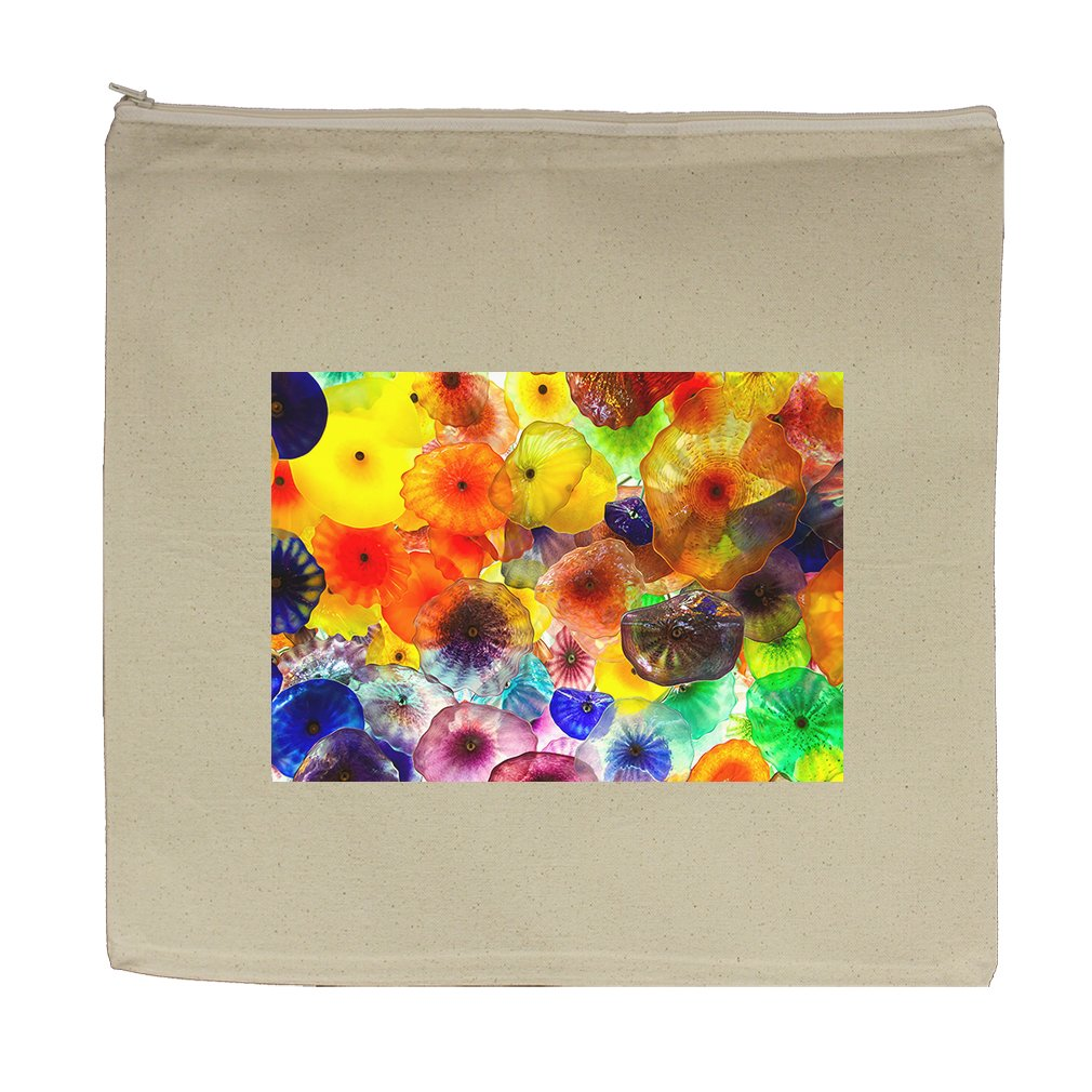 Canvas Zipper Pouch 5.5''X7.5'' Colorful Glass Flowers In Hotel Style In Print