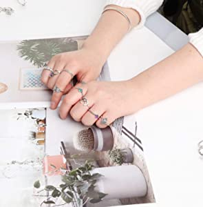 Adramata Anillos de Tobillo para Mujeres niñas Anillo de Dedo Midi apilable Bohemio Pack Retro Vintage Joyería 40 Piezas: Amazon.es: Joyería