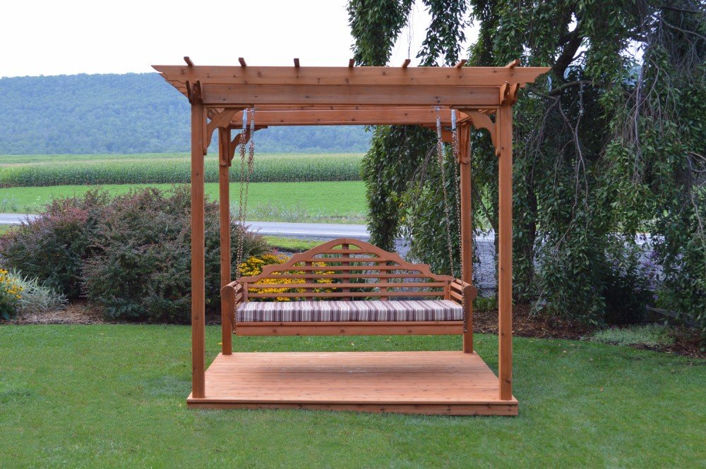 8' x 10' Amish-Made Cedar Pergola with Deck and 75