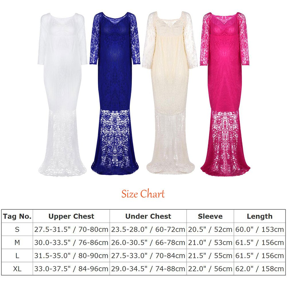 Pregnant Women's Off Shoulder V Neck Long Sleeve Lace Maternity Gown Maxi Photography Dress Baby Shower Photo Shoot