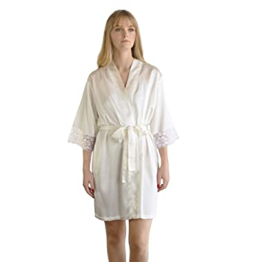 Women's Satin Bride and Bridesmaid Wedding Party Short Kimono Robe