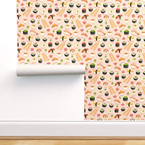 Spoonflower Pre-Pasted Removable Wallpaper, Kawaii Sushi Pink Japanaese Food Pattern Japanese Chopsticks Rice Wasabi Print, Water-Activated Wallpaper, 24in x 144in Roll