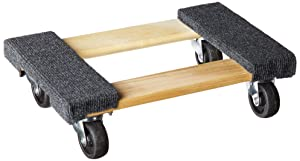 "Haul Master 93888 Mover's Dolly 1000 lbs. Weight Capacity, 18"" L x 12-1/4"" W, 12-14&quot, Grey/Hardwood"