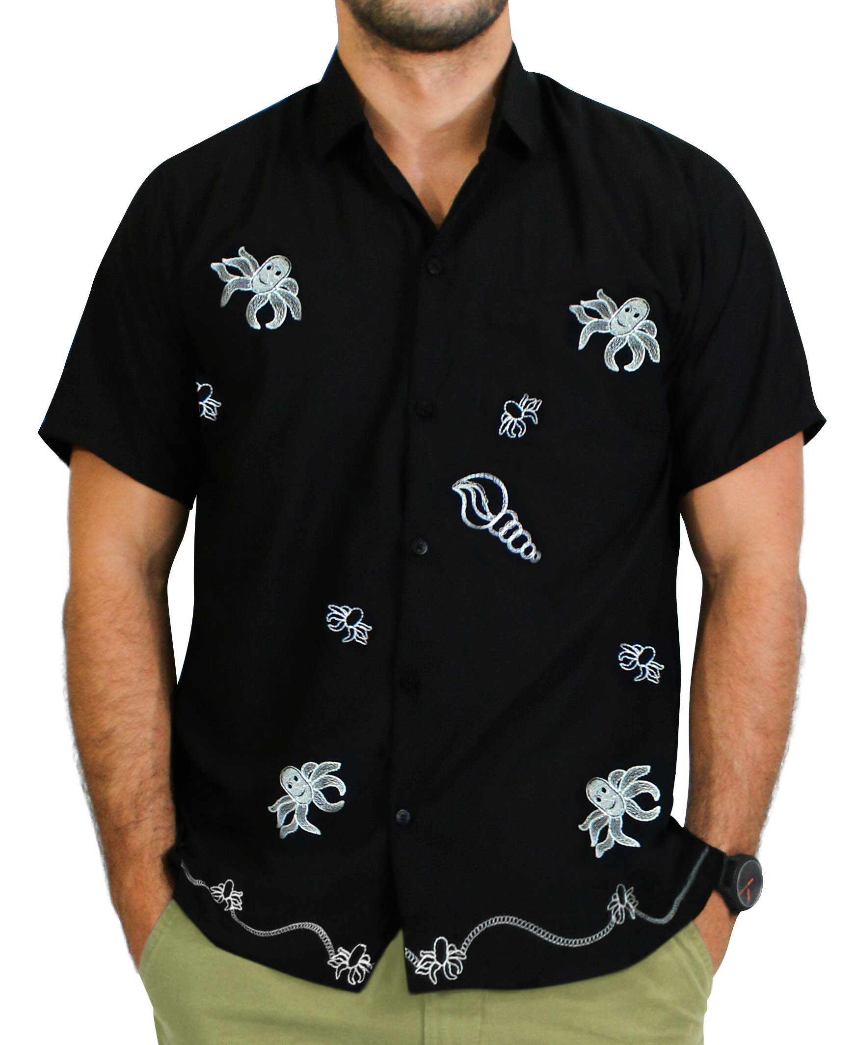 LA LEELA Rayon Luau Vacation Point Collar Shirt Black 46 2XL |Chest 54'' - 59''