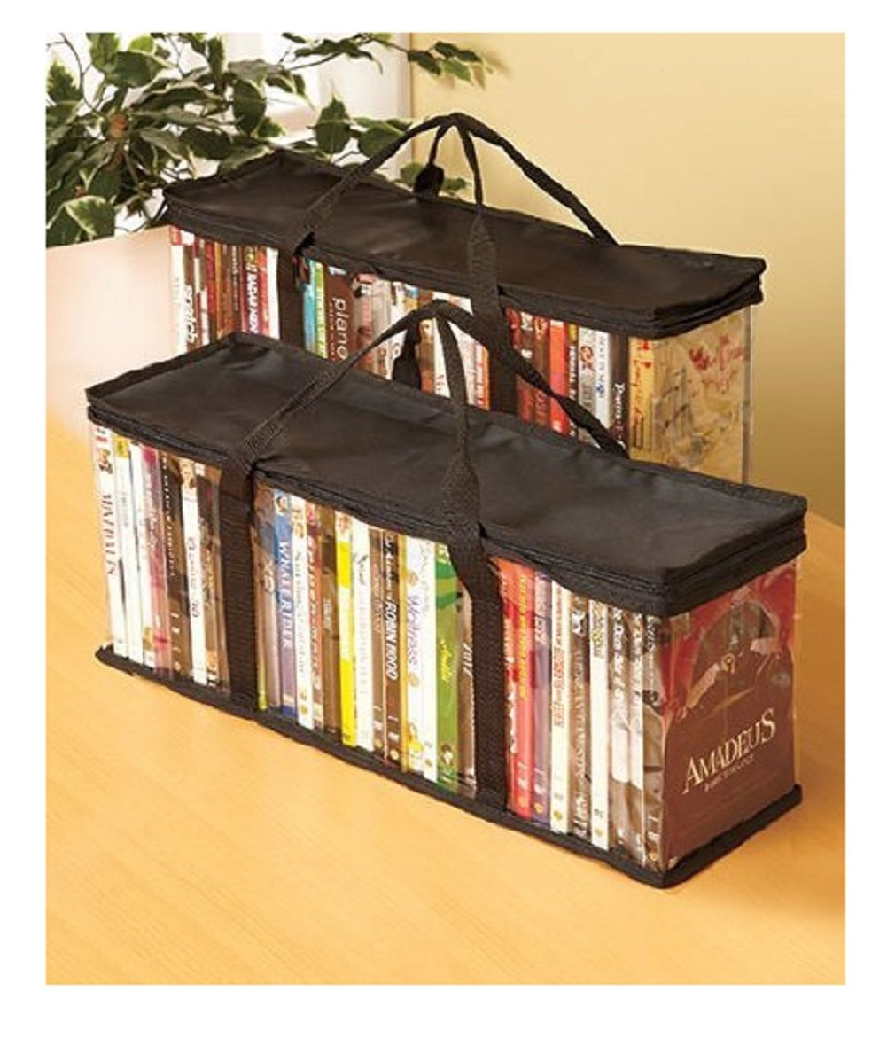 Set of 2 Durable DVD Clear Storage Bags | Holds 40 DVDs Each | By Trenton Gifts