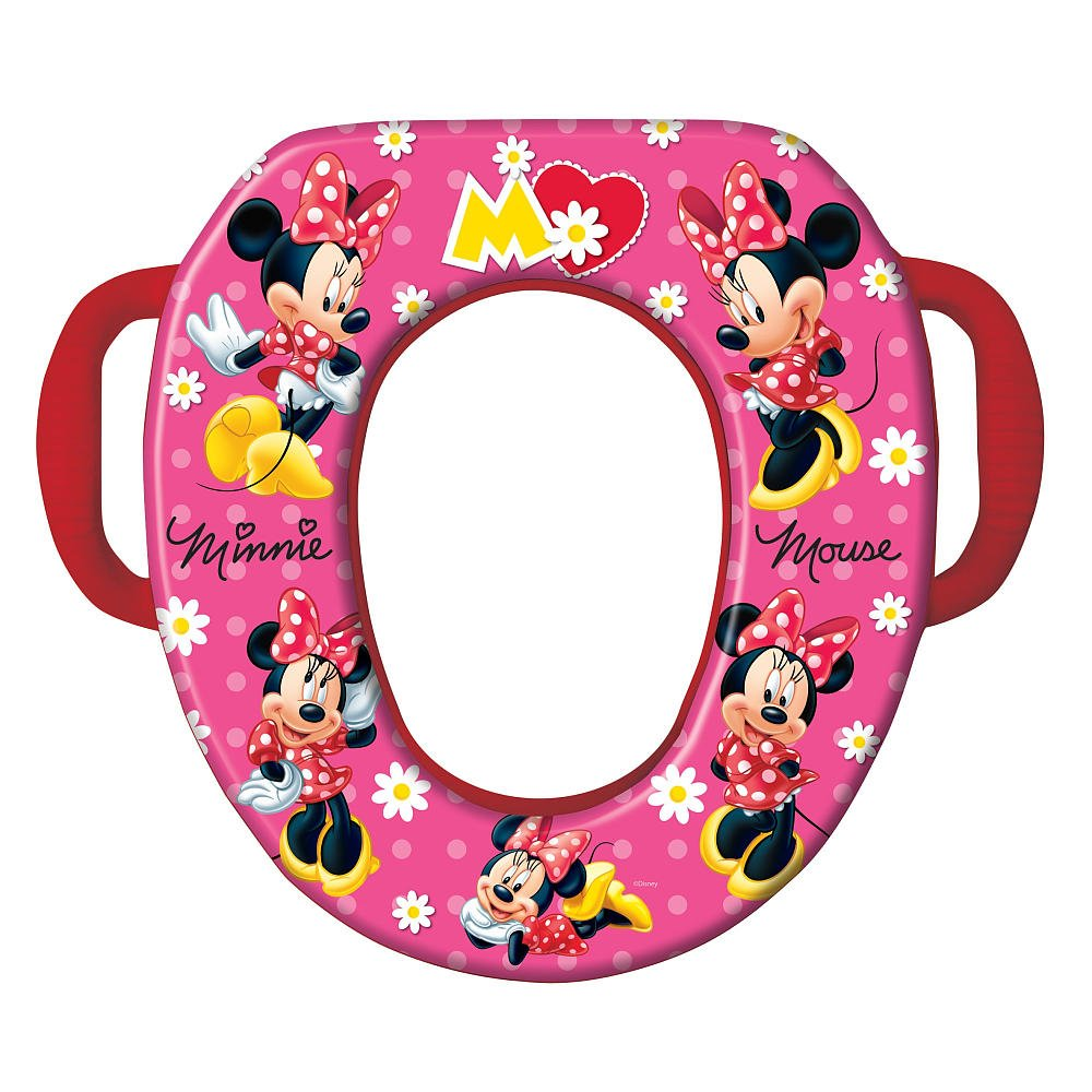 Ginsey Potty Seat - Padded, Soft, and Durable - For Regular and Elongated Toilets - Removable Cushion for Easy Cleaning - Firm Grip Handles - Mad About Minnie 56730