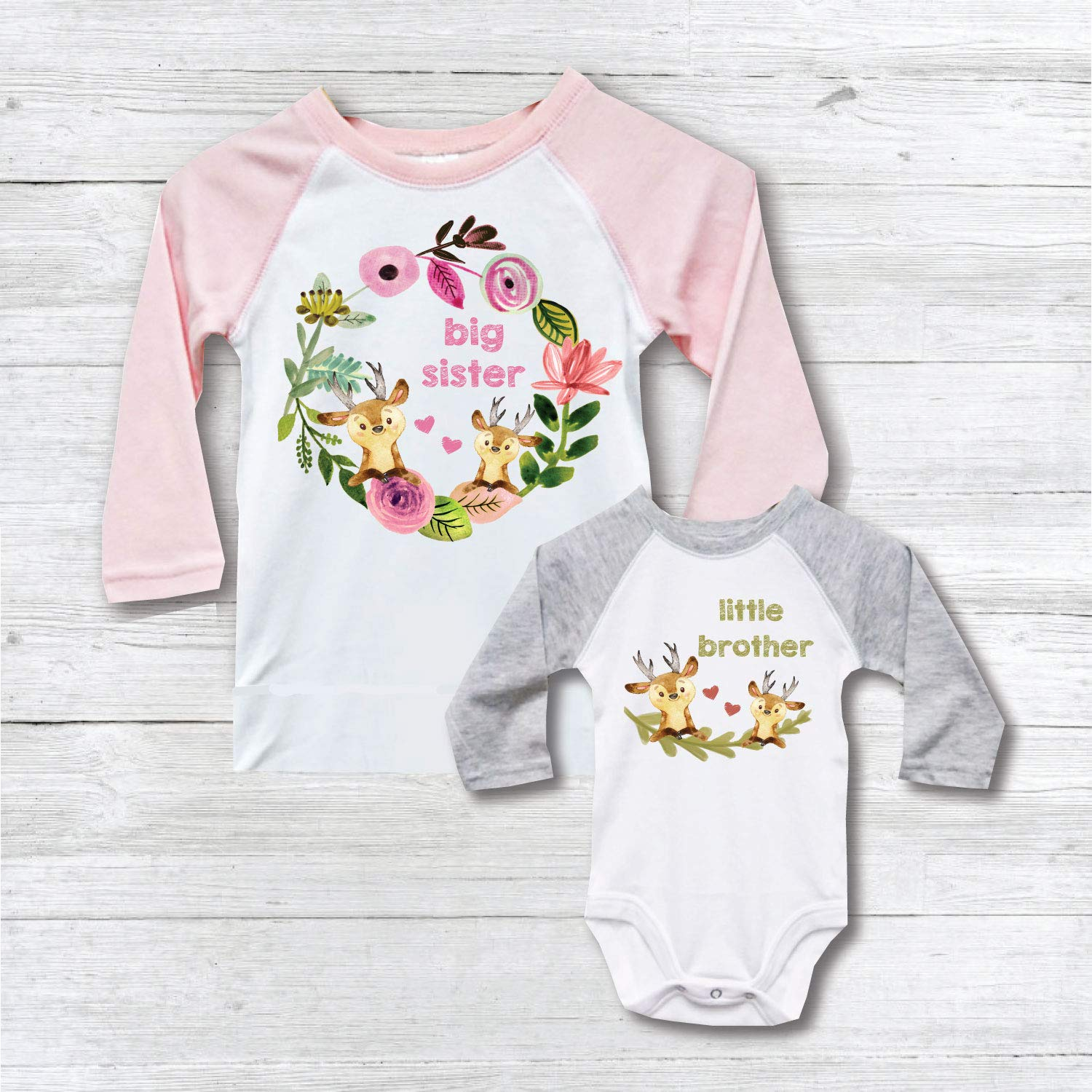 75f90436b Amazon.com: Big Sister Little Brother Shirts Onesie New Big Sister Matching  Baby Shower Gift: Handmade