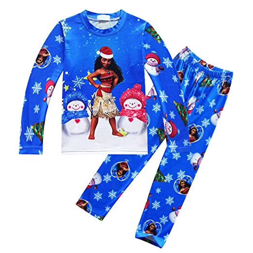 35c2451bc0 AOVCLKID Little Girls Moana Pajamas Sets for Kids Clothes Toddler Long  Sleeve Christmas Sleepwear (Blue