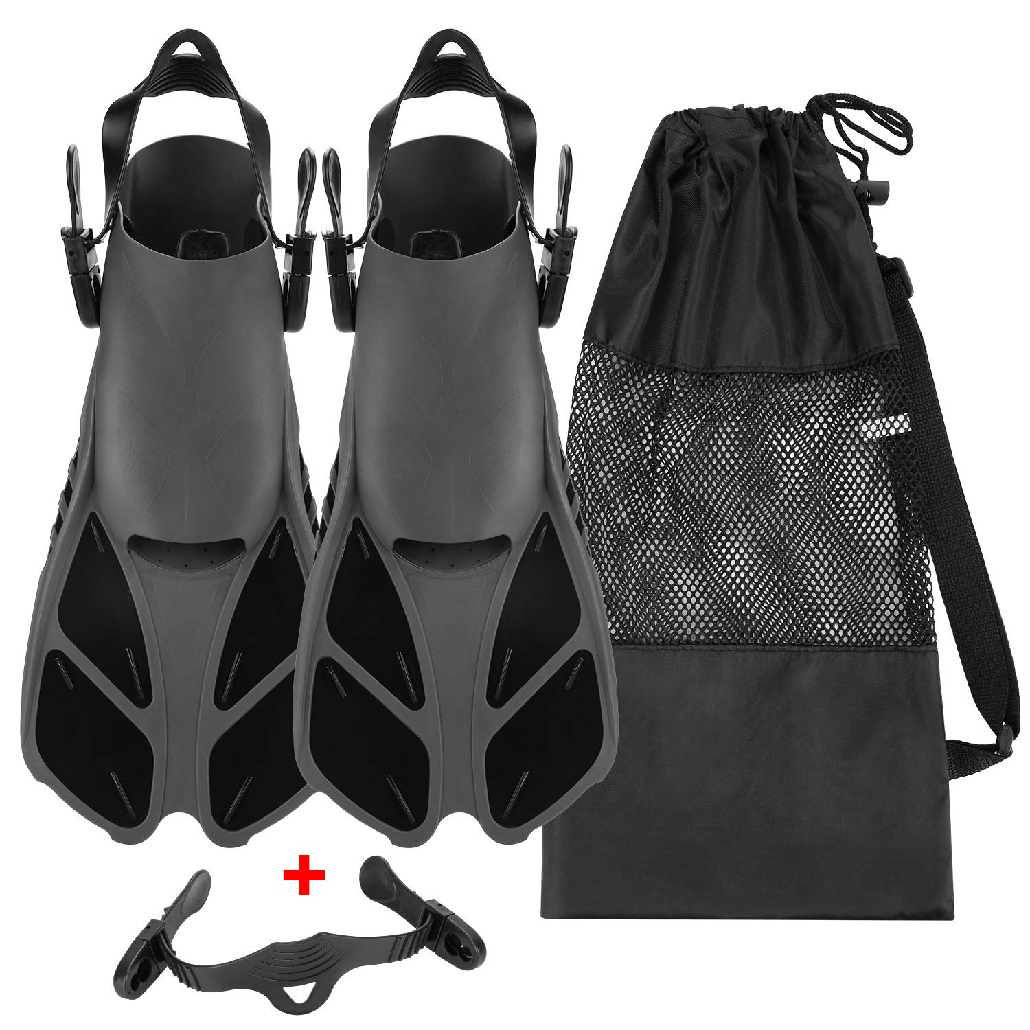 Oumers Snorkel Fins, Travel Size Adjustable Strap Diving Flippers with Mesh Bag and Extra Buckle Connector for Men Women Snorkeling Diving Swimming by Oumers