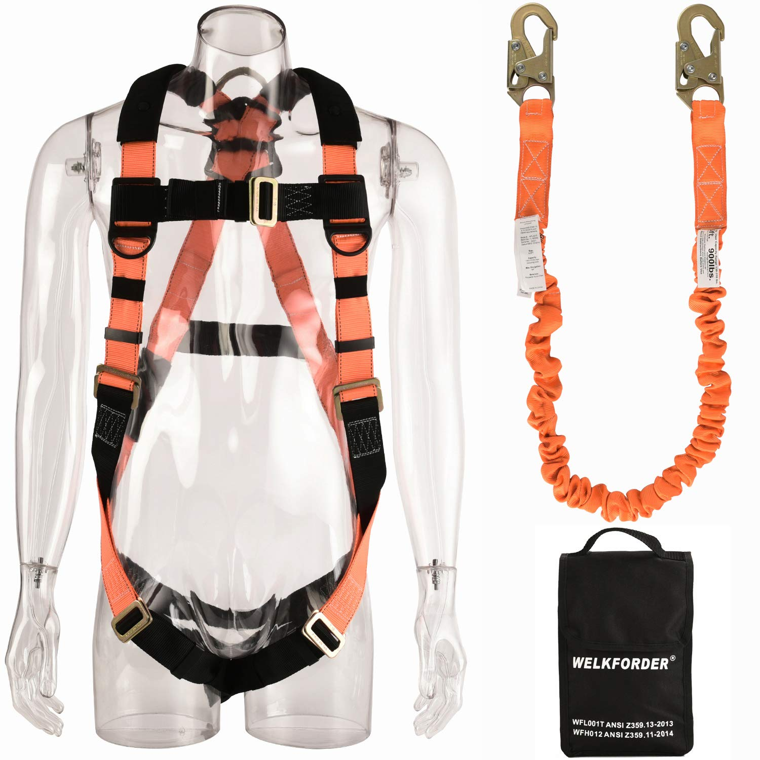 WELKFORDER 1 D-Ring Industrial Fall Protection Safety Harness Kit for Construction With Single Leg 6-Foot Fall Protection Internal Shock Stretchable Lanyard ANSI Complaint for construction by WELKFORDER
