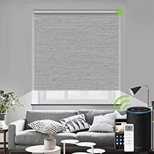 Motorized Blinds Remote Control Window Roller Shade Wireless Rechargeable 100% Blackout Window Shades for Office and Home (Foggy Grey)