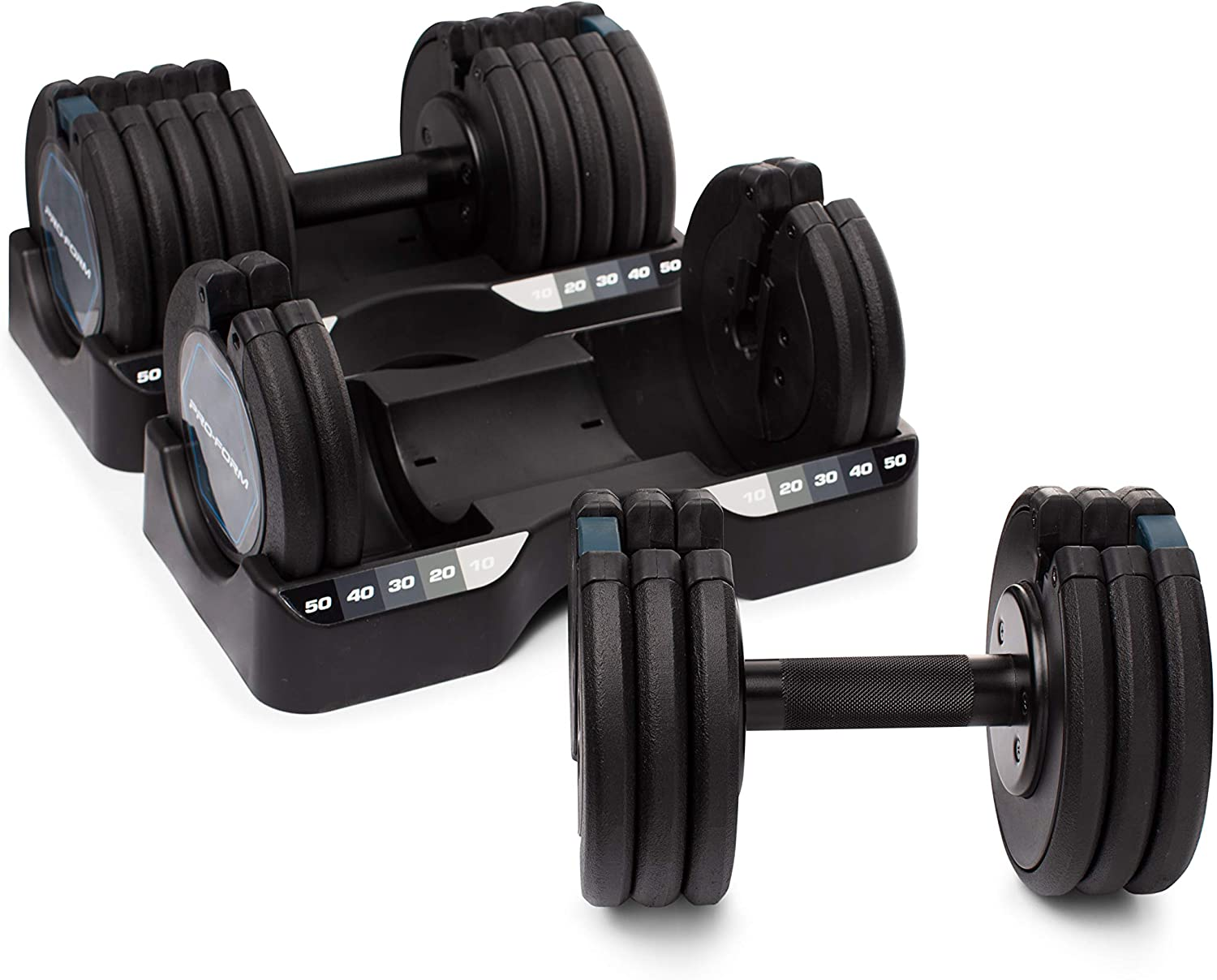 Black ProForm 50 lb Select-a-Weight Dumbbell Pair