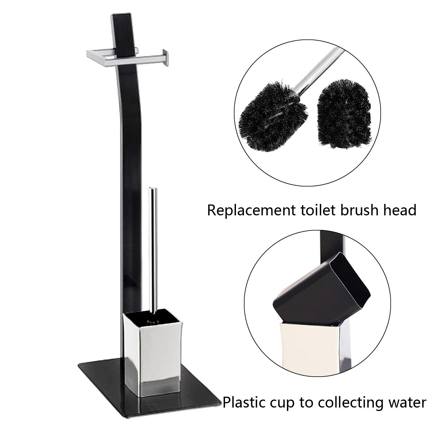 Free Standing Toilet Paper Holder Black Tissue Industrial Bathroom Toilet Brush And Holder Set Stand Silver by FOYUEE (Image #3)