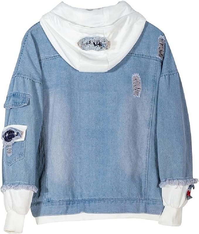 YOLEOLY カジュアル パーカー スウェットシャツ ジャケット デニム フード付き 大人用 プルオーバー