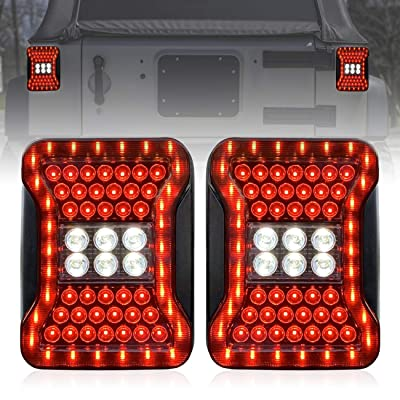 ICARS Taillights Tail Lamps for 2007-2020 Jeep Wrangler JK/JKU Unlimited Sahara Rubicon, Pairx (JL Look): Automotive