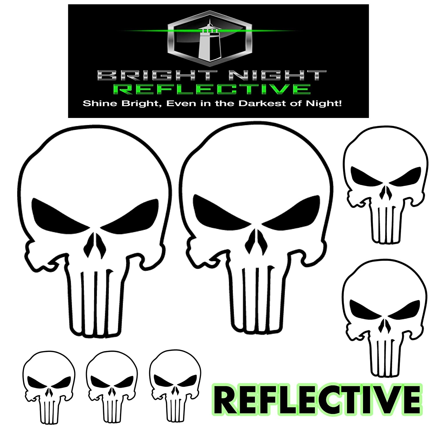 Two 2.25 x 3.25 plus 5 more! Punisher skull decal set for helmets motorcycles cars guns black reflective
