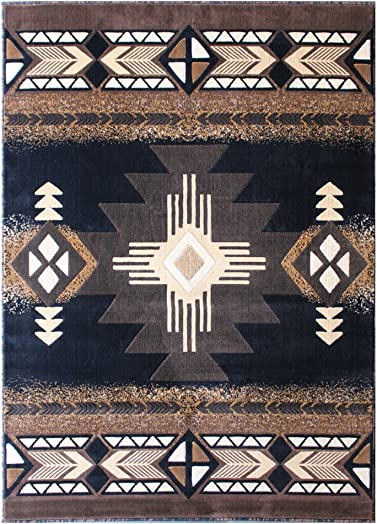 South West Native American Area Rug 5 Feet X 7 Feet Black Design C318