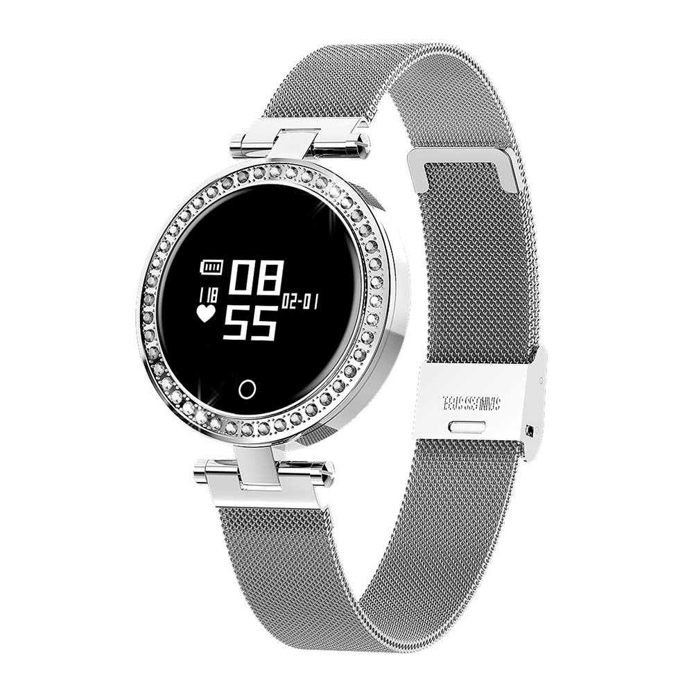 OOLIFENG Sports Smart Watch for Women with Heart Rate Monitor, IP68 Waterproof Activity Tracker with Bluetooth Pedometer,Silver