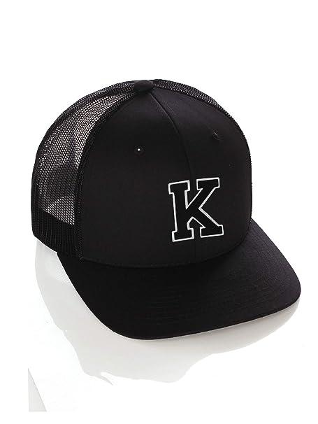 a9efd015149821 Structured Trucker Mesh Hat Custom Colors Letter K Initial Baseball Mid  Profile (Black Black White