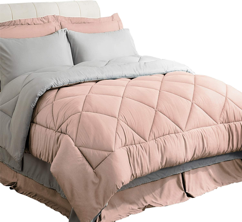 Bedsure Twin Size Bed in A Bag, Pink/Light Grey - Soft Microfiber, Reversible Bed Comforter Set 6 Pieces (1 Comforter, 1 Pillow Sham, 1 Flat Sheet, 1 Fitted Sheet, 1 Bed Skirt, 1 Pillowcase)
