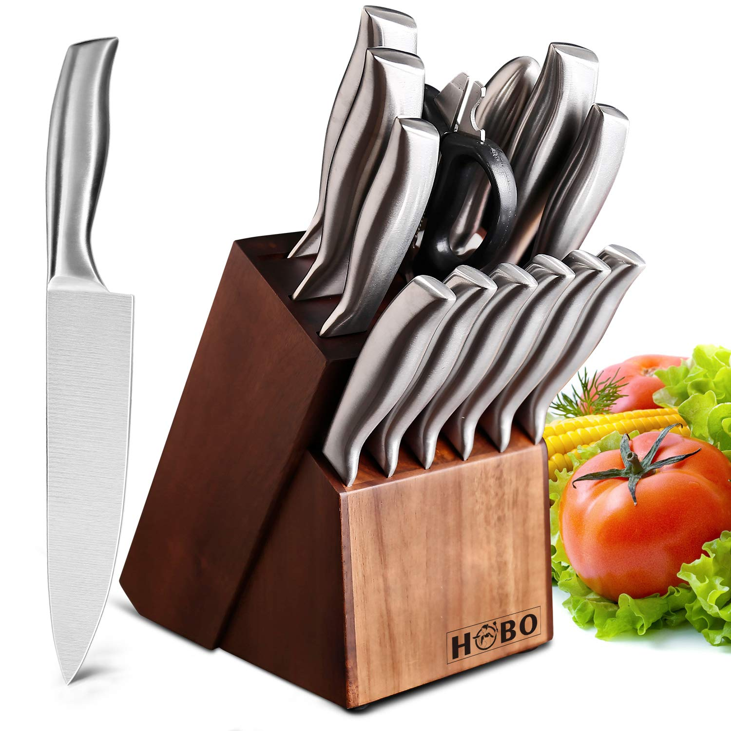 HOBO Knife Set, 14-Piece German Professional Chef Knife Set with Wooden Block, Premium Anti-rust Cutlery Set with Kitchen Scissors and Sharpener