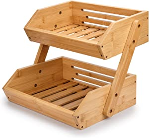 Bamboo Fruit Basket, G.a HOMEFAVOR 2-Tier Bamboo Countertop Fruit Basket for Kitchen Food Storage, Large Capacity Vegetable Storage Stand, 15 mm Thickness (Self-assembly)