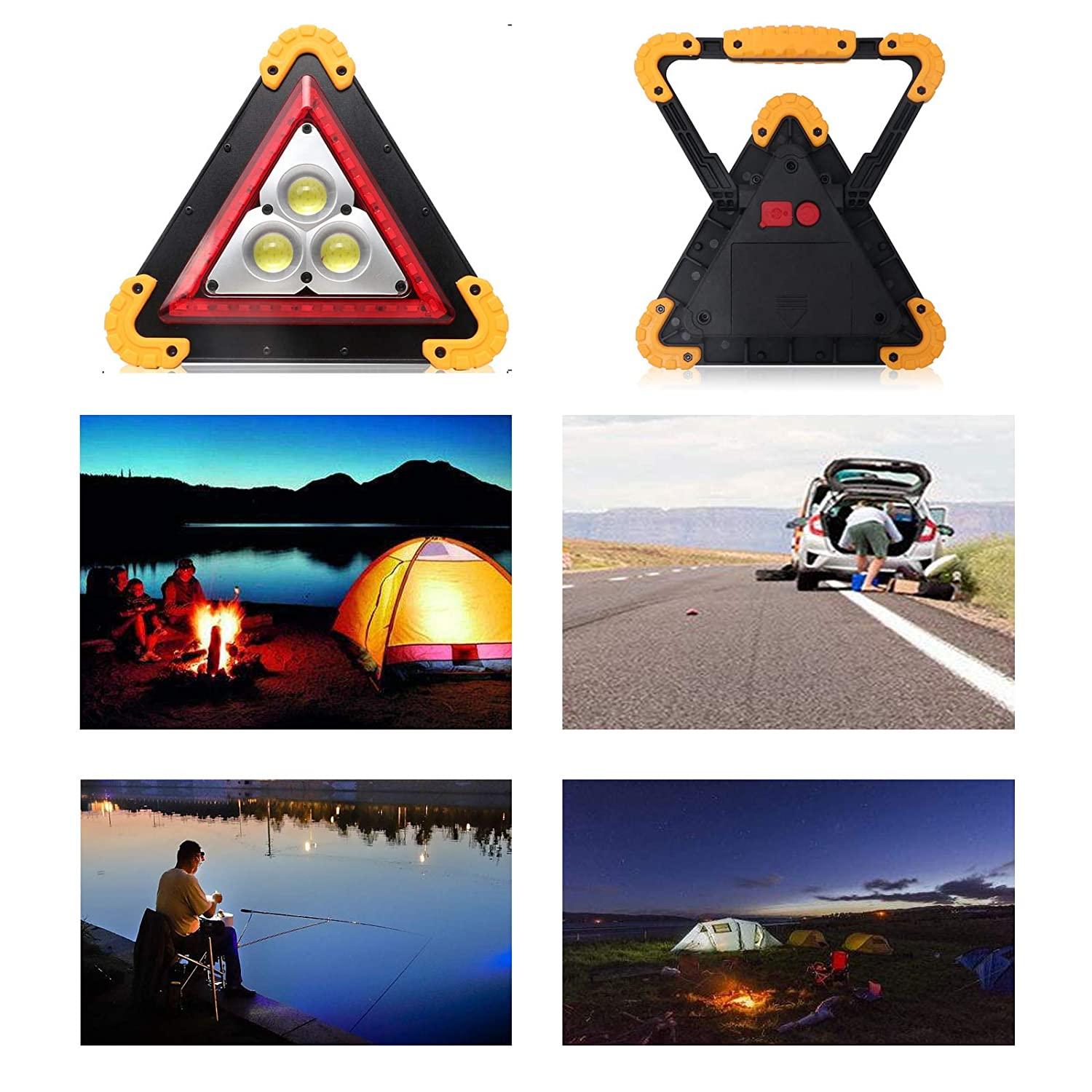 Huini Car Breakdown Emergency Light Flashing Warning Triangle Light 4 Modes LED Bright Light USB Rechargeable Power Bank Function Waterproof for Emergency,Car repairing,Camping,Hiking,Fishing