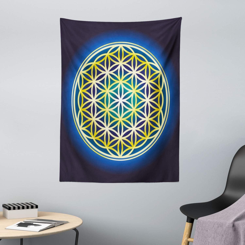 ABAKUHAUS La Flor De La Vida Tapiz de Pared y Cubrecama Suave, Espirales De La Naturaleza, Decoración para el Cuarto, 110 x 150 cm, Añil Violeta Azul Amarillo
