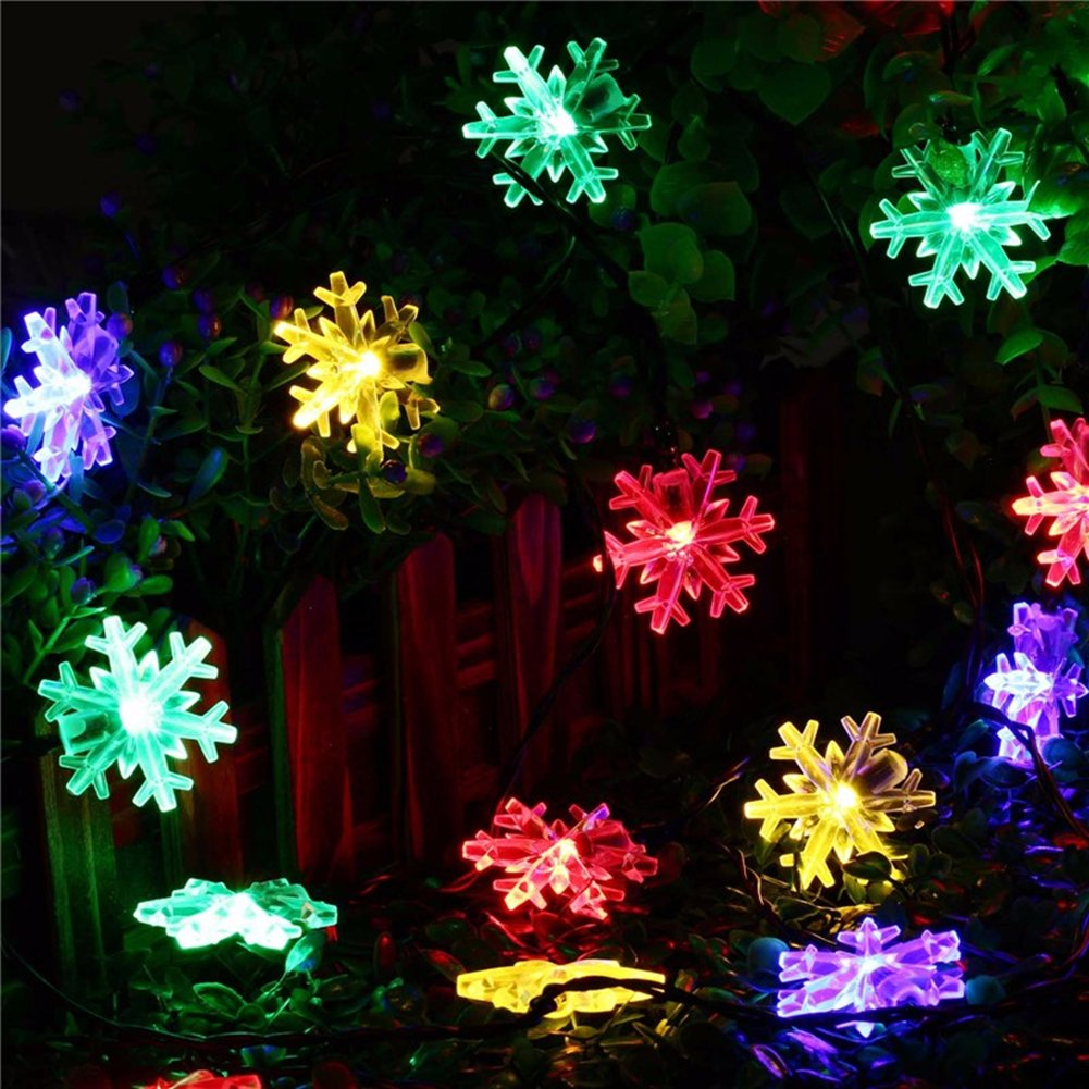 40 LED 20ft Snowflake Flowers Solar String Fairy Lights Waterproof Outdoor Home Garden Decor Christmas Holiday Decoration Battery Powerd (Multi-colored)