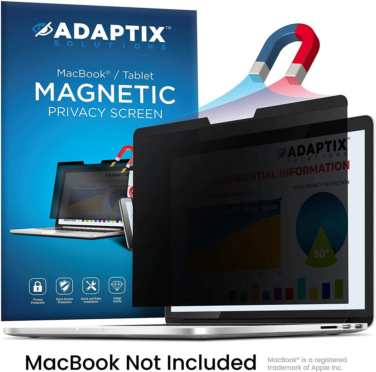 Adaptix Magnetic Privacy Screen for 13 Inch MacBook Pro [2016, 2017, 2018, 2019, 2020] – Anti-Glare, Laptop Privacy Filter – Blue Light Protector - Fits MacBook Air [2018, 2019, 2020] (AMSMR13-TB)