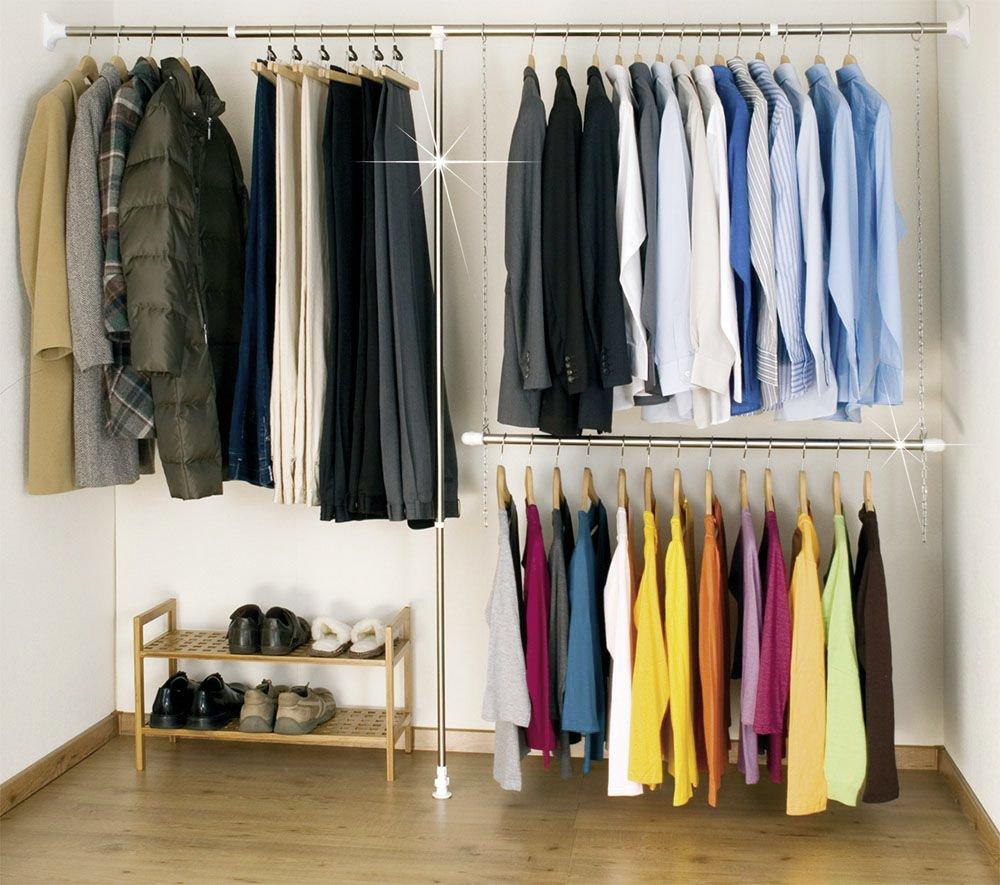 wardrobe clothes garment organiser closet extendable hanging rail storage system ebay. Black Bedroom Furniture Sets. Home Design Ideas