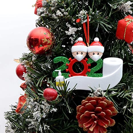 Christmas Tree Recolection 2021 Amazon Com 2021 Christmas Decoration Gift Personalized Resin Christmas Tree Hanging Ornament Party Distancing With Mask Writable Figurine Ornaments 2 People Design Kitchen Dining