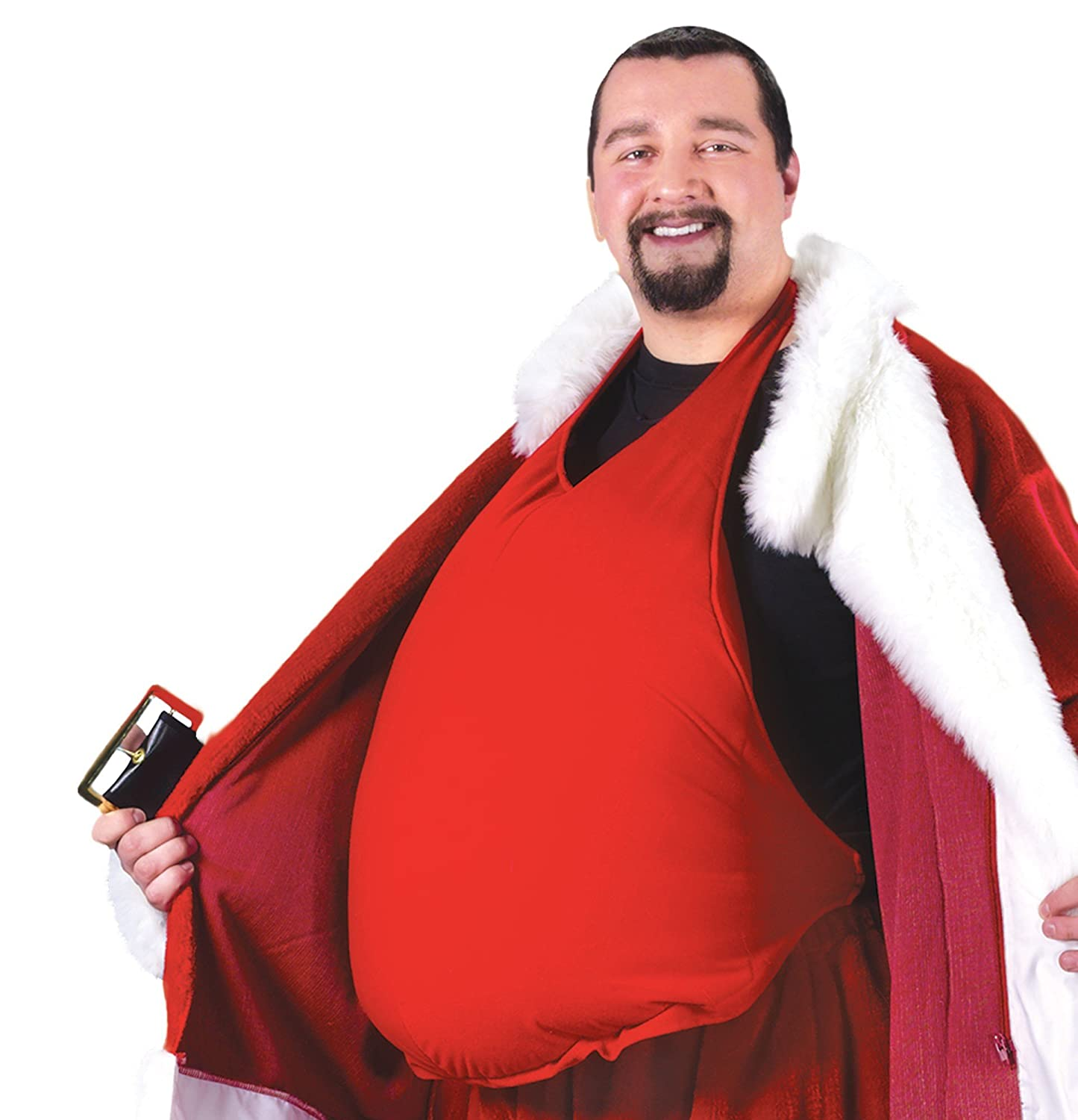 Men's Red Stuffed Santa Belly - DeluxeAdultCostumes.com
